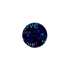 Blue love pattern 1  Mini Buttons