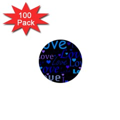 Blue love pattern 1  Mini Buttons (100 pack)