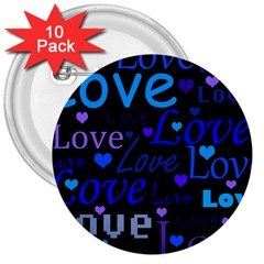 Blue love pattern 3  Buttons (10 pack)