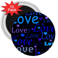 Blue love pattern 3  Magnets (10 pack)
