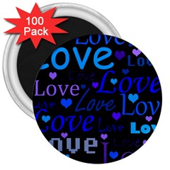 Blue love pattern 3  Magnets (100 pack)