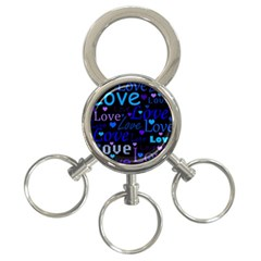 Blue love pattern 3-Ring Key Chains