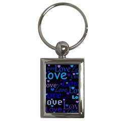 Blue love pattern Key Chains (Rectangle)