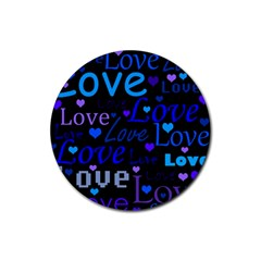 Blue love pattern Rubber Round Coaster (4 pack)
