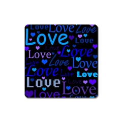 Blue love pattern Square Magnet