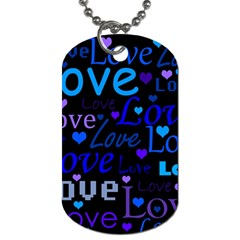 Blue love pattern Dog Tag (One Side)