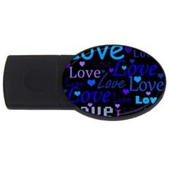 Blue love pattern USB Flash Drive Oval (1 GB)