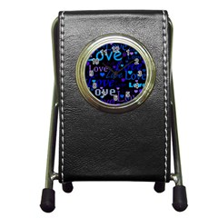 Blue love pattern Pen Holder Desk Clocks