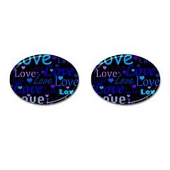 Blue love pattern Cufflinks (Oval)