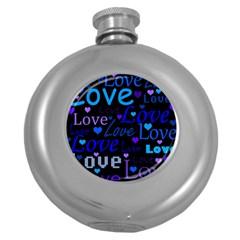 Blue love pattern Round Hip Flask (5 oz)