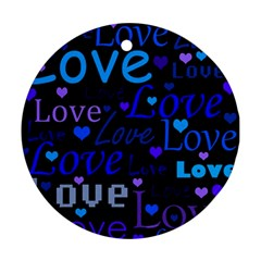 Blue love pattern Round Ornament (Two Sides)