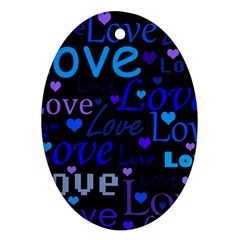 Blue love pattern Oval Ornament (Two Sides)