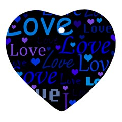 Blue love pattern Heart Ornament (2 Sides)