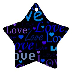 Blue love pattern Star Ornament (Two Sides)