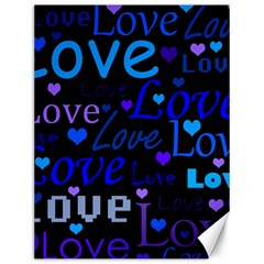 Blue love pattern Canvas 12  x 16