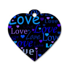 Blue love pattern Dog Tag Heart (One Side)