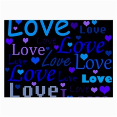 Blue love pattern Large Glasses Cloth