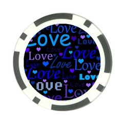 Blue love pattern Poker Chip Card Guards