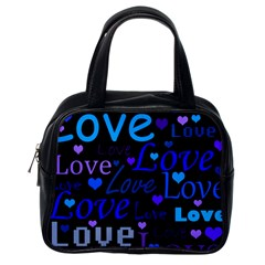 Blue love pattern Classic Handbags (One Side)