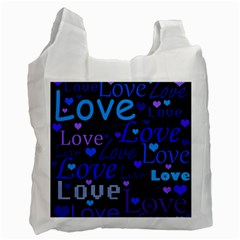 Blue love pattern Recycle Bag (One Side)