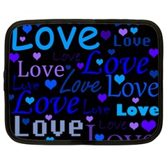 Blue love pattern Netbook Case (XL)