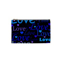 Blue love pattern Cosmetic Bag (Small)