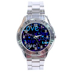 Blue love pattern Stainless Steel Analogue Watch