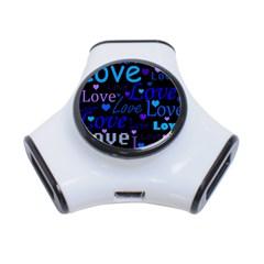 Blue love pattern 3-Port USB Hub
