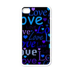 Blue love pattern Apple iPhone 4 Case (White)