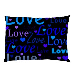 Blue love pattern Pillow Case (Two Sides)