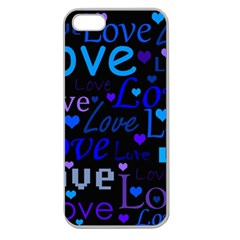 Blue love pattern Apple Seamless iPhone 5 Case (Clear)