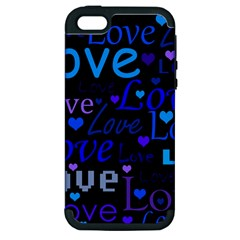 Blue love pattern Apple iPhone 5 Hardshell Case (PC+Silicone)