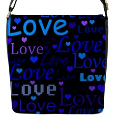 Blue love pattern Flap Messenger Bag (S)