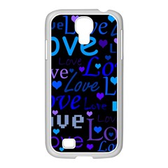 Blue love pattern Samsung GALAXY S4 I9500/ I9505 Case (White)