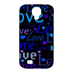 Blue love pattern Samsung Galaxy S4 Classic Hardshell Case (PC+Silicone)