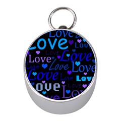 Blue love pattern Mini Silver Compasses