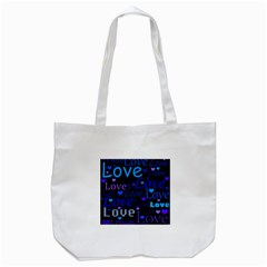 Blue love pattern Tote Bag (White)