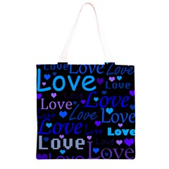 Blue love pattern Grocery Light Tote Bag