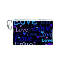 Blue love pattern Canvas Cosmetic Bag (S)