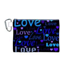 Blue love pattern Canvas Cosmetic Bag (M)