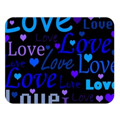 Blue love pattern Double Sided Flano Blanket (Large)