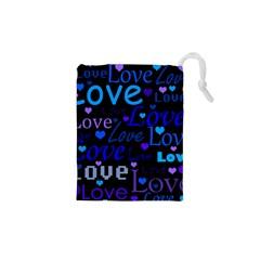 Blue love pattern Drawstring Pouches (XS)