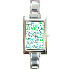 Love pattern - green and blue Rectangle Italian Charm Watch