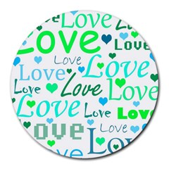 Love pattern - green and blue Round Mousepads