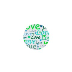 Love pattern - green and blue 1  Mini Buttons