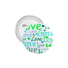 Love pattern - green and blue 1.75  Buttons