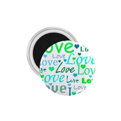 Love pattern - green and blue 1.75  Magnets