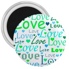 Love pattern - green and blue 3  Magnets