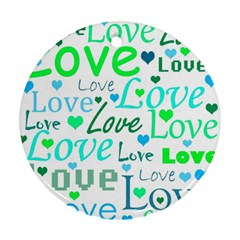 Love pattern - green and blue Ornament (Round)
