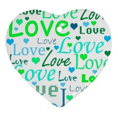 Love pattern - green and blue Ornament (Heart)